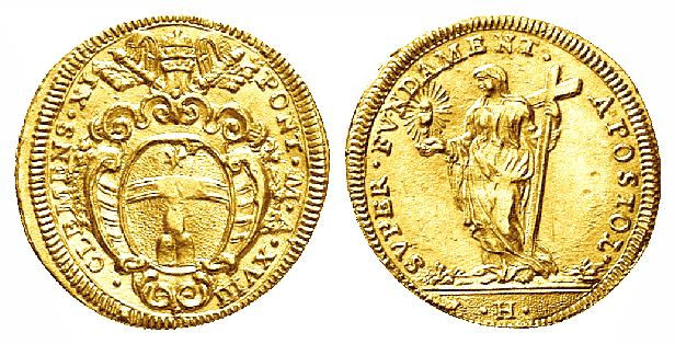 File:A gold Scudo minted during the reign of Pope Clement XI in 1718 .jpg